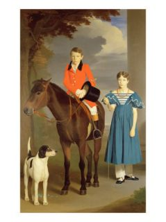 John Gubbins Newton and His Sister Mary, 1832 33 (Oil on Canvas) Giclee Print by Robert Burnard