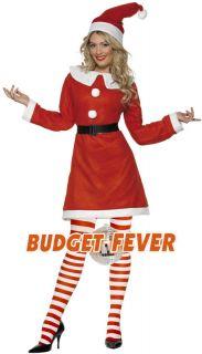 Miss Elf or Santa Ladies Fancy Dress Christmas Party Costume + Hat