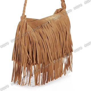 Hot Brown Celebrity Fringe Tassel Shoulder Messenger Bag Handbag