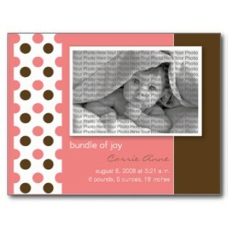 Baby Birth Announcement Pink Polka dots Post Cards
