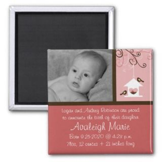 Bird House Baby Girl Birth Announcement Refrigerator Magnets