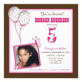Whimsical Butterflies Birthday Party Invite brown