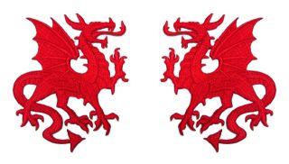 Paar Applikationen Wappen Drachen 12,6 x 8cm Farbe Rot