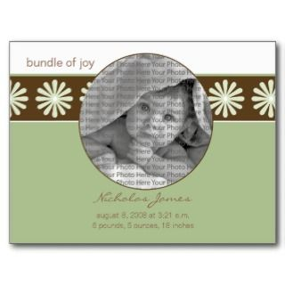 Baby Birth Announcement Sage Green Flowers Post Card