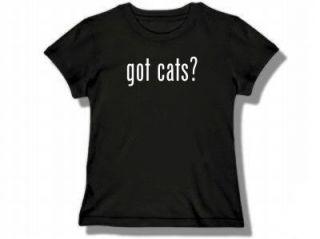 got cats? Womens Black T Shirt New Size MEDIUM