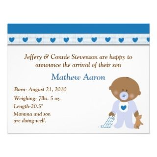 Blue Hearts Cartoon Baby Boy Birth Announcement