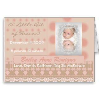 Little Bit of Heaven Baby Birth Announcement Cards