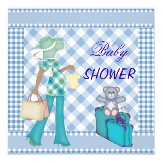 Shower Blue Bear Checks Gingham Custom Announcement