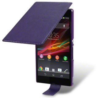 PURPLE THIN PU LEATHER FLIP CASE FOR SONY XPERIA Z