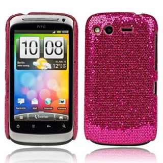 HOT PINK BLING GLITTER HARD CASE COVER FOR HTC DESIRE S