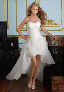 White&Ivory Short Beach Wedding Bride Princess Dress Gown Size 32 34