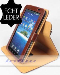 Samsung GALAXY Tab GT P1000 ECHT LEDER Etui Tasche Stand braun