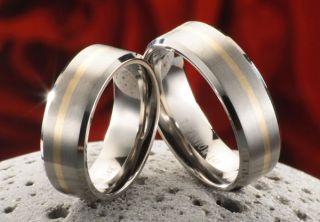 Eheringe Verlobungsringe aus Titan und 585 Gold + Ring Etui
