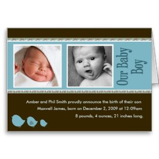 Beautiful baby boy birth announcement cards. Customize it with your