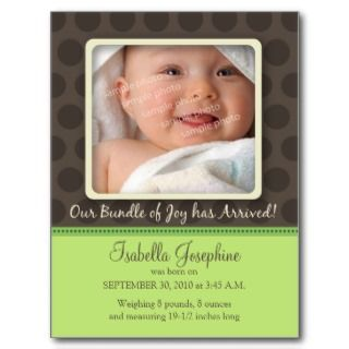 Chocolate Dots Baby Birth Announcement (lime) Postcards