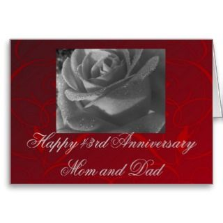 43rd Anniversary Mom & Dad, black & white rose Greeting Card