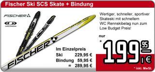 Fischer SCS Skating Ski +gratis Bindung NNN oder SNS