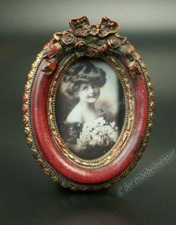 Bilderrahmen Fotorahmen Bild Oval Rahmen Rot Gold Holz Deko Antik Stil