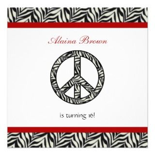 Invitations, 24 Zebra Print Peace Sign Party Announcements & Invites