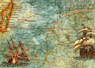 ZIGIC Rajko~Modern World Antique Map (Antike Weltkarte)~92x136cm