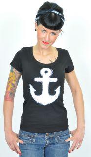 KO196   Küstenluder WHITE ANCHOR Anker Shirt Rockabilly Emo   schwarz