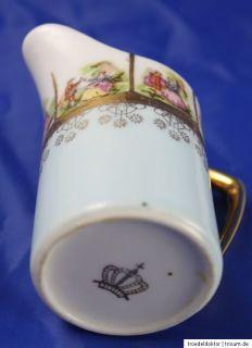 Altes Porzellan Set Zuckerdose Milchkännchen mit Prunk Dekor gemarkt