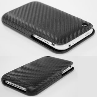 iPhone 3G & 3GS Handy Leder Tasche Carbon Etui Cover Flip Case Hülle