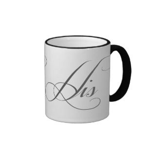 His n Hers Matching Script Lettering Gift Mugs