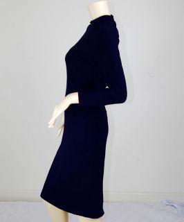 Navy Blue Vtg Rockabilly Pin Up Secretary Spy Kleid Dress L