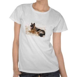 Resting German Shepherd Dog Ladies Fitted T Shirt