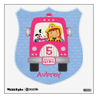 Fire Truck Birthday Girl Room Graphics