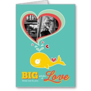 Cute Cartoon Yellow Whale Valentine Photo Card