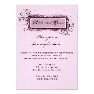 Abstract Pink Floral Couples Wedding Shower Custom Invites