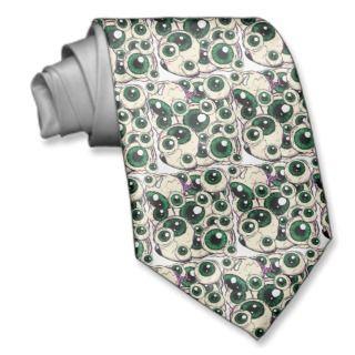 Halloween green Eye Balls & purple flesh Necktie