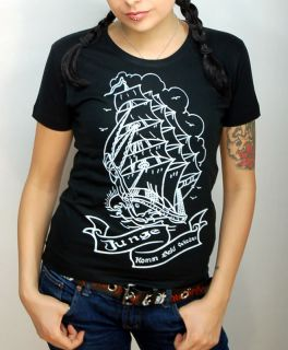 RM804   Rockabilly Oldschool SAILOR Ship Tattoo Shirt Batcave Emo