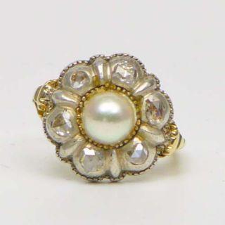 Biedermeier Antikschmuck RING 585 Gold Silber Diamantrosen