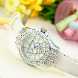 Golden Rare Elegant White Crystal Diamond Quartz Women Unisex Analog