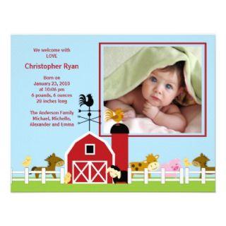 Farm Animal Baby Boy Birth Photo Announcement