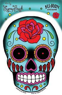 Day Of The Dead Sunny Buick Rose Sugar Skull Sticker
