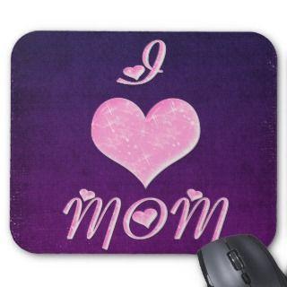 Love Mom Pretty Heart Design Mousepad