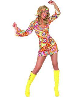 Ladies 60er 70er Hippie Kostüm Damen 1960er 1970er Retro Fancy Dress