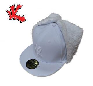 New York NY White Fitted Dog Ear Baseball Cap 7 3/8
