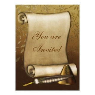 Elegant Scroll Quill and Inkwell Invites