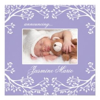 Baby Birth Announcements Lilac Floral Frame
