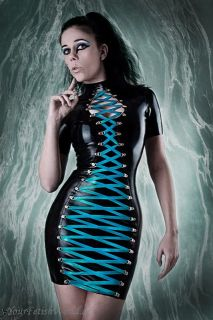 Latex Gummi Kleid mit Schnürung Rubber Mini Dress
