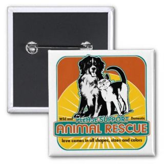 Animal Rescue Dog and Cat Pinback Buttons
