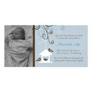 Bird House Baby Boy Announcement Personalized Photo Card