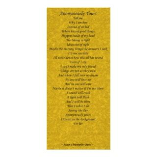Anonymously Yours Poetry Card   Set of 25 Rack Card Design