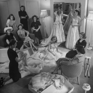 Debs of Omaha Aspire to be Queen Last Years Queen and Her Court  over Ballgowns Photographic Print by Herbert Gehr