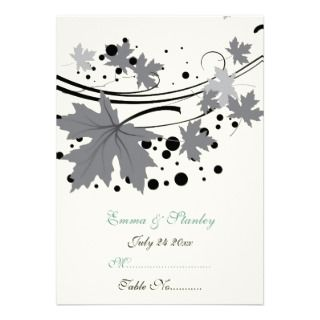 Maple leaves black grey custom wedding place card personalized invite